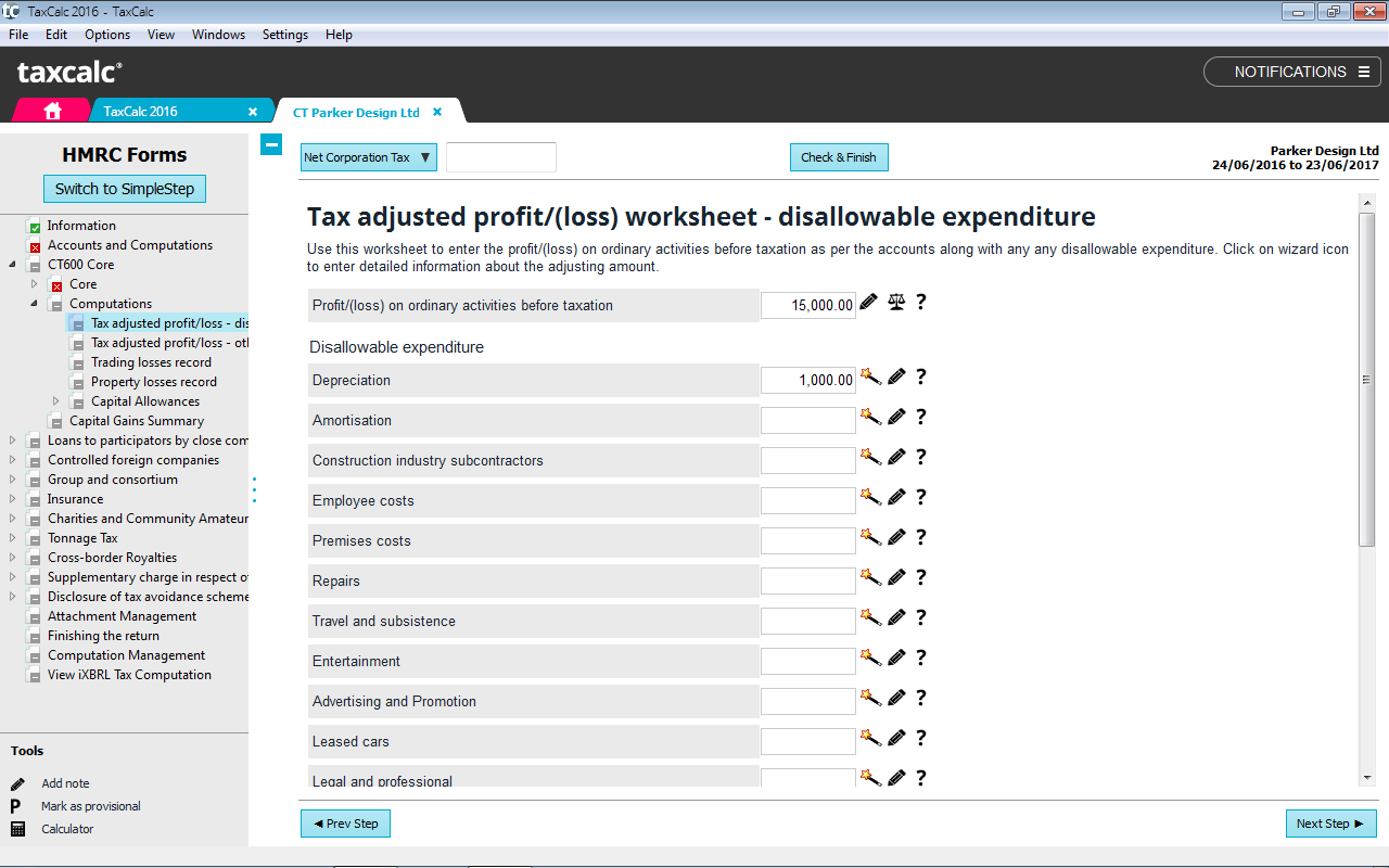 limited company taxcalc simplestep is our unique questionnaire mode which guides you through the return asking questions based upon answers given and data entered