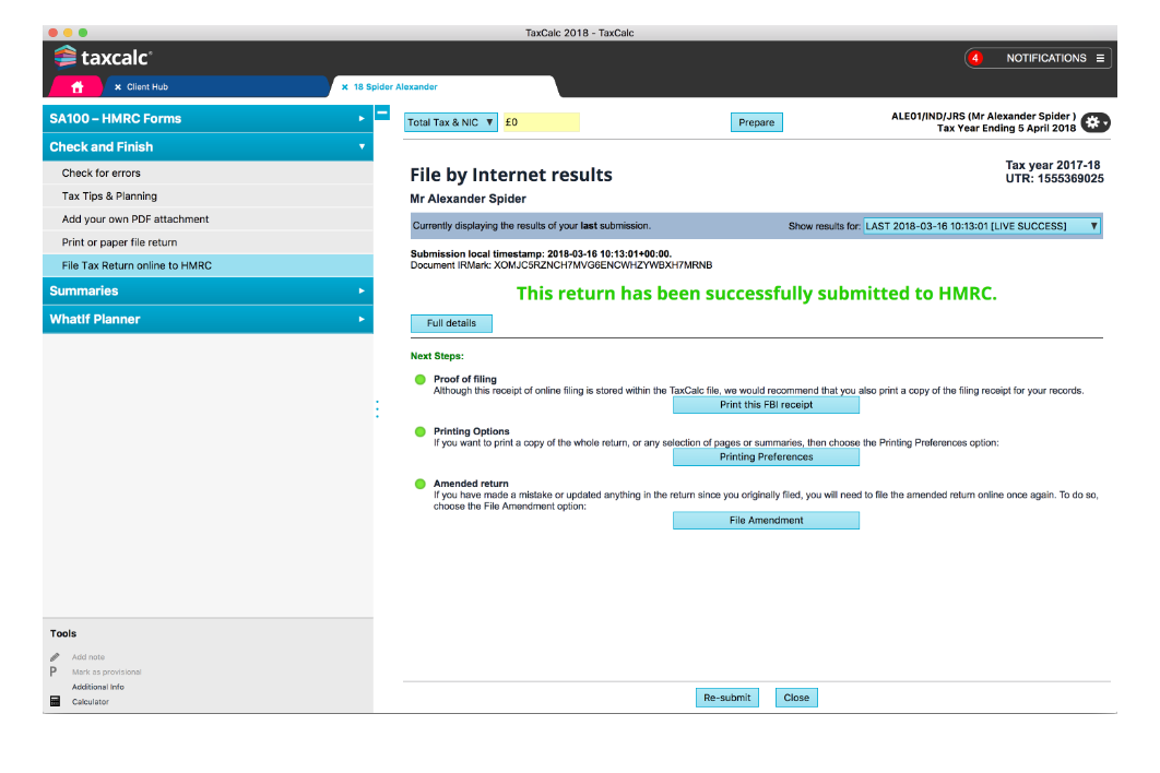 Taxcalc Files Your Client S Return Online And Tells You When It Has Been Successfully Received By Hmrc